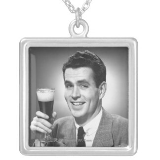 Man holding glass of beer in studio B&W Silver Plated Necklace