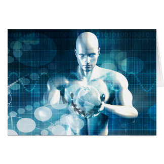 Man Holding Globe with Technology Industry Card
