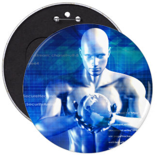 Man Holding Globe with Technology Industry Pinback Button