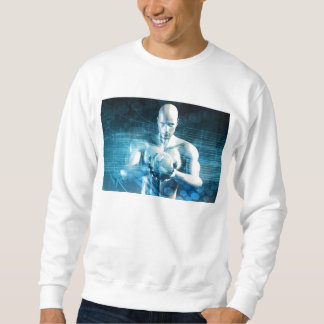 Man Holding Globe with Technology Industry Sweatshirt