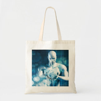 Man Holding Globe with Technology Industry Tote Bag