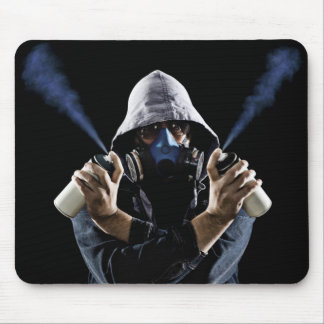 Man Holding Graffiti Spray Paint Cans Mouse Pad