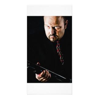 man holding gun photo cards