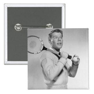 Man Holding Tennis Racket Button