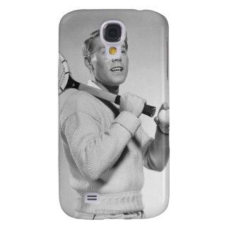 Man Holding Tennis Racket Samsung Galaxy S4 Cases