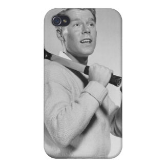 Man Holding Tennis Racket Cases For iPhone 4