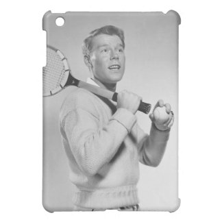 Man Holding Tennis Racket Cover For The iPad Mini