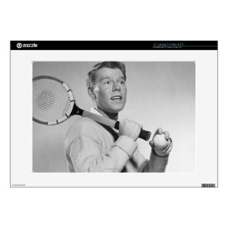 "Man Holding Tennis Racket Decal For 15"" Laptop"