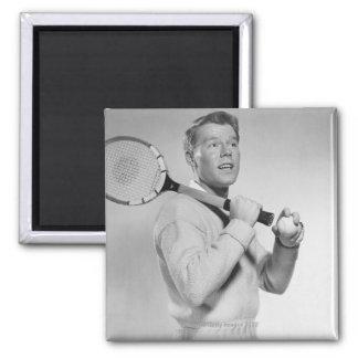 Man Holding Tennis Racket Magnets