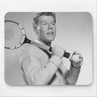 Man Holding Tennis Racket Mouse Pad
