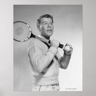 Man Holding Tennis Racket Poster