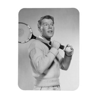 Man Holding Tennis Racket Rectangle Magnet
