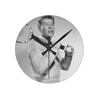 Man Holding Tennis Racket Round Clock