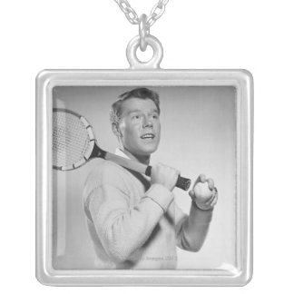 Man Holding Tennis Racket Silver Plated Necklace