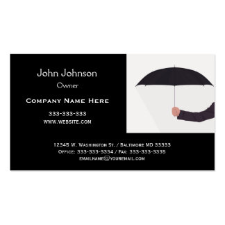 Man Holding Umbrella Black White Professional Business Cards