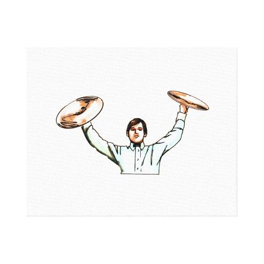 Man holding up cymbals light blue shirt canvas print