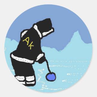 Man Ice Fishin by jg Classic Round Sticker