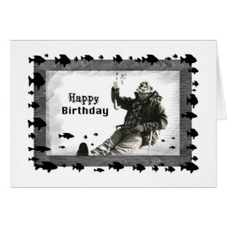 Man Ice Fishing, Birthday, Blank Card