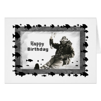 Man Ice Fishing, Birthday Greeting Card
