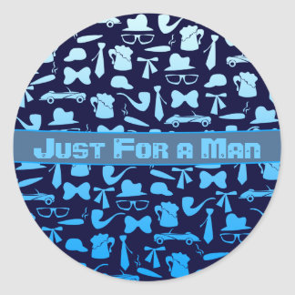 Man icons patterns only for manly men classic round sticker