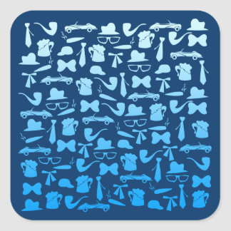 Man icons patterns only for manly men square sticker