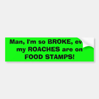 Man, I'm so BROKE, even my ROACHES are on FOOD ... Bumper Sticker