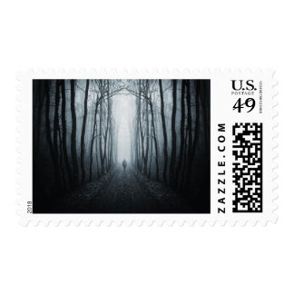 Man In A Dark Fantasy Forest Postage Stamps