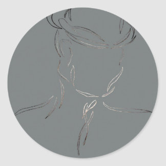 Man in a Hat 2 - CricketDiane Abstract Art Round Stickers