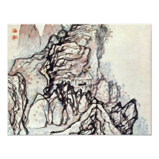Man In A House Under A Rock By Tao Chi 4.25x5.5 Paper Invitation Card