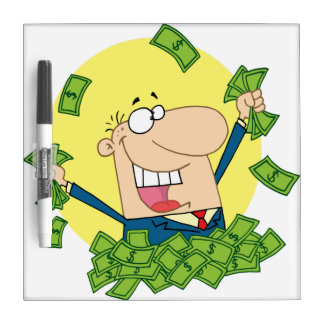Man in a pile of money Dry-Erase board