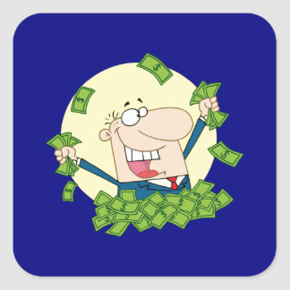 Man in a pile of money square sticker