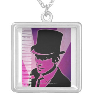Man in a Top Hat Silver Plated Necklace