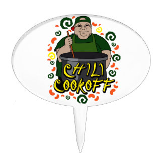 Man in Apron green Chili Cookoff Graphic Cake Topper