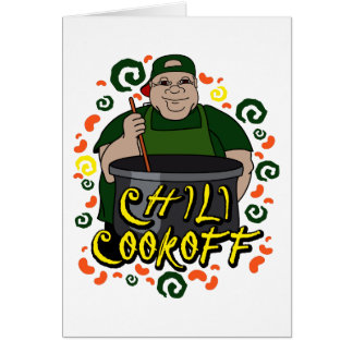 Man in Apron green Chili Cookoff Graphic Card