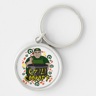 Man in Apron green Chili Cookoff Graphic Keychain