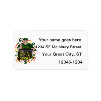 Man in Apron green Chili Cookoff Graphic Custom Address Labels