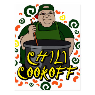 Man in Apron green Chili Cookoff Graphic Postcard