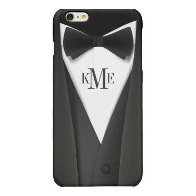 Man in Black Tuxedo Suit - Stylish Manly Monogram Glossy iPhone 6 Plus Case