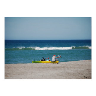 Man in Boat at Beach Poster