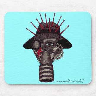 Man in gas mask abstract graphic art mousepad
