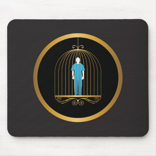 Man in gold bird cage mouse pad
