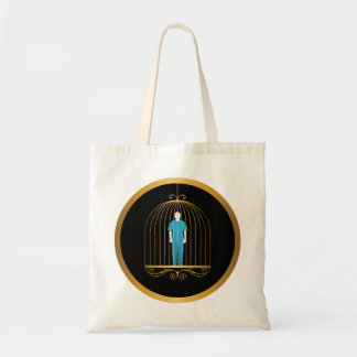 Man in gold bird cage tote bag