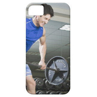 Man in gym, lifting large barbell, clenching iPhone SE/5/5s case