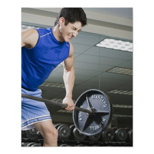 Man in gym, lifting large barbell, clenching poster