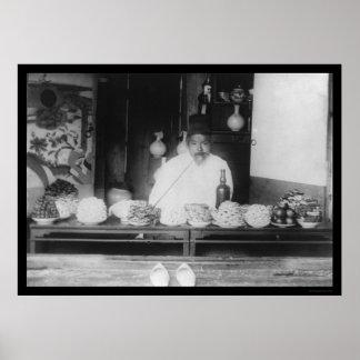 Man in His Food Shop in Seoul, Korea 1895 Poster