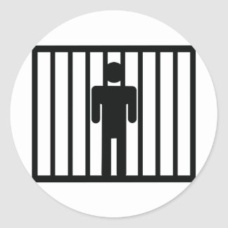 man in jail classic round sticker