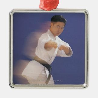 Man in karate stance metal ornament