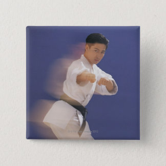 Man in karate stance pinback button