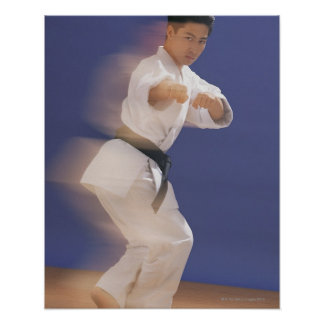 Man in karate stance poster