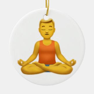 Man in Lotus Position - Emoji Ceramic Ornament
